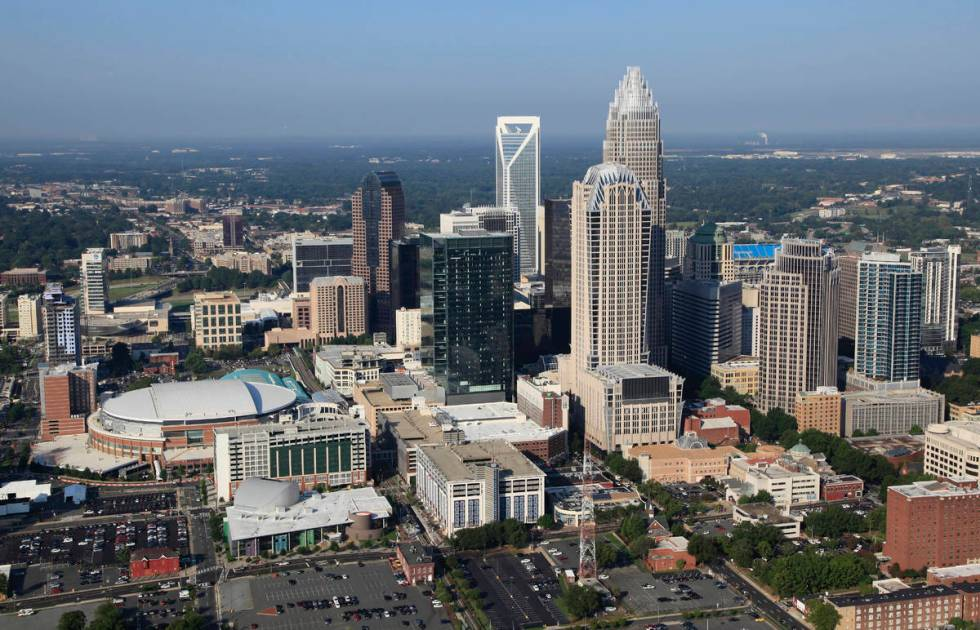 The Time Warner Cable Arena is shown on left of downtown Charlotte, N.C., Thursday, Aug. 16, 20 ...